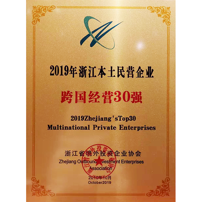 Zhejiang's Top 30 Multinational Private Enterprises